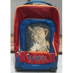 WWF  ZAINO TROLLEY ORGANIZZATO BOY BLU/ROSSO/ARANCIO