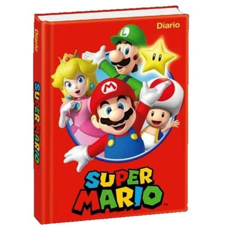 Diario Super Mario  non datato. Copertina rossa rigida e pagine spaziose a quadretti.
