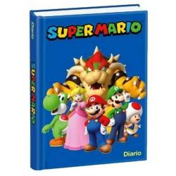 Diario Super Mario  non datato. Copertina blu rigida e pagine spaziose a quadretti.